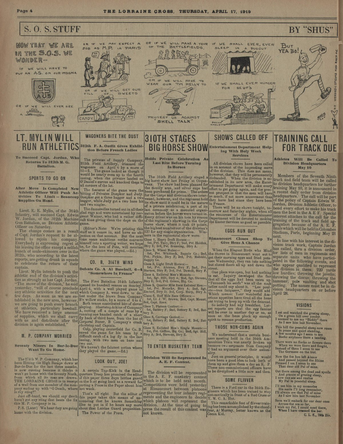 Lorraine Cross Newspaper Volume 1 Number 5 France April 17 1919 Page 4