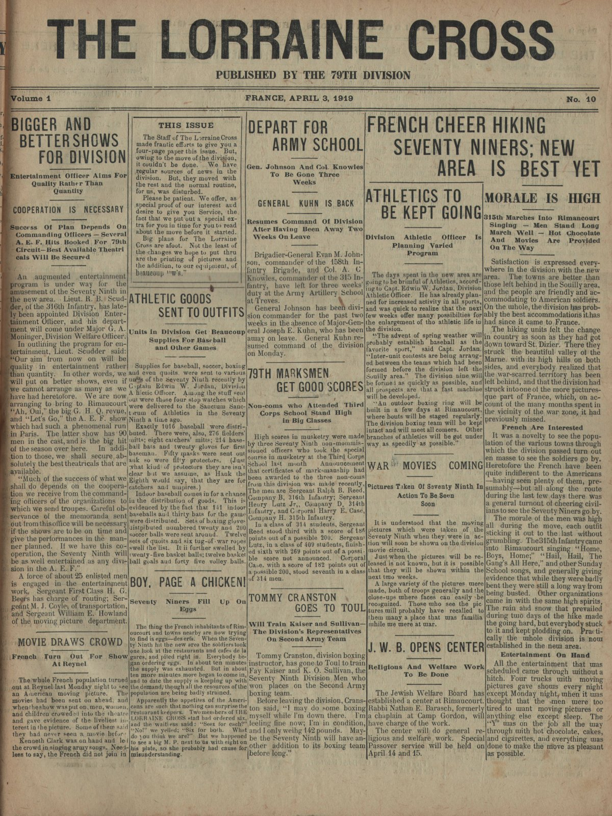Lorraine Cross Newspaper Volume 1 Number 5 France April 3 1919 Page 1