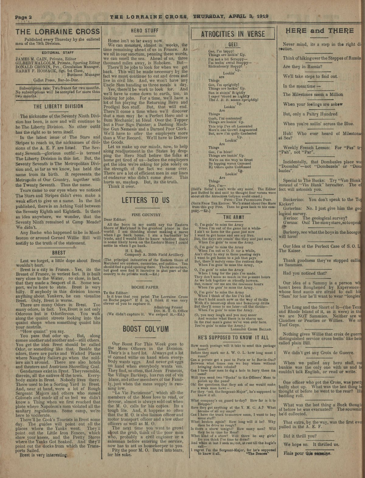 Lorraine Cross Newspaper Volume 1 Number 5 France April 3 1919 Page 2