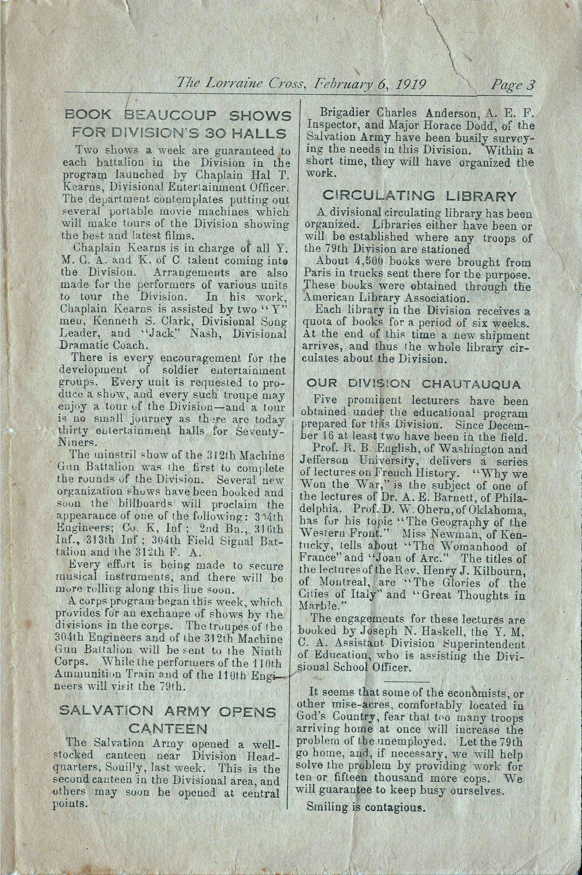Lorraine Cross Newspaper Volume 1 Number 5 France February 6 1919 Page 3