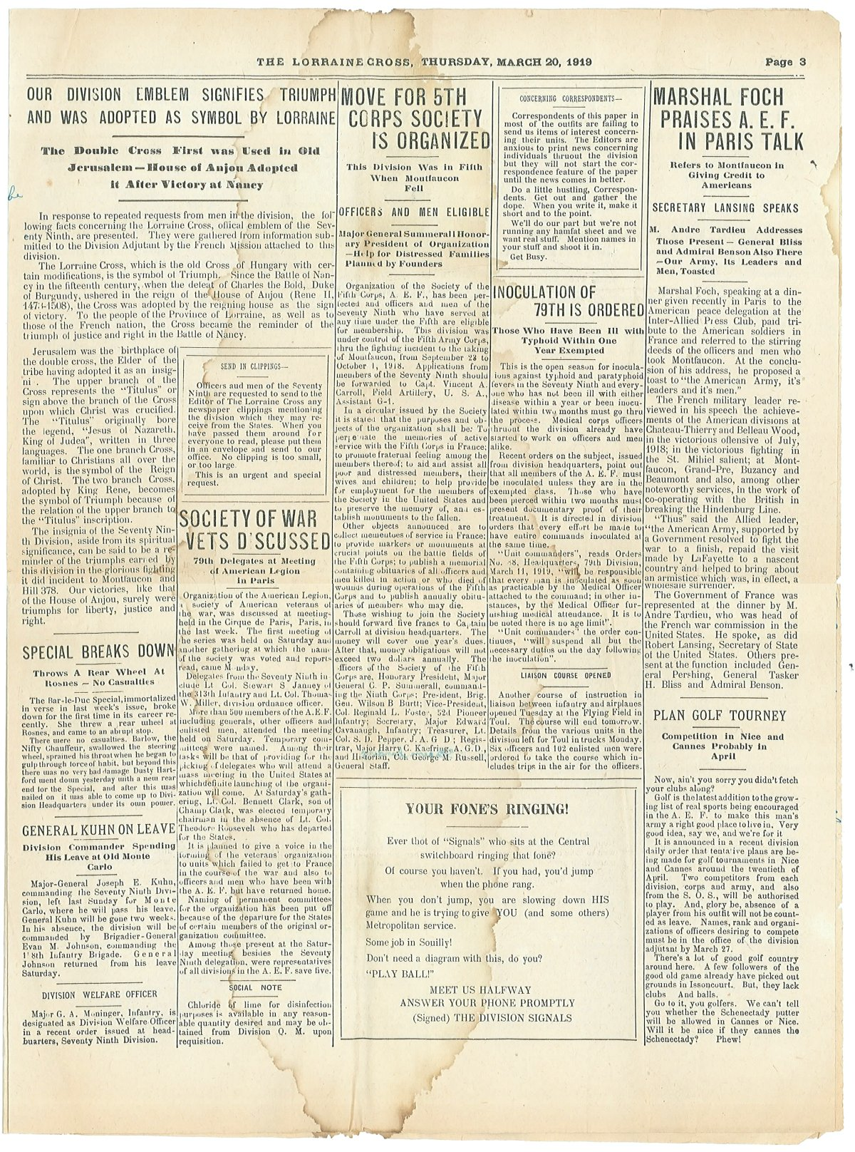 Lorraine Cross Newspaper Volume 1 Number 5 France March 20 1919 Page 3