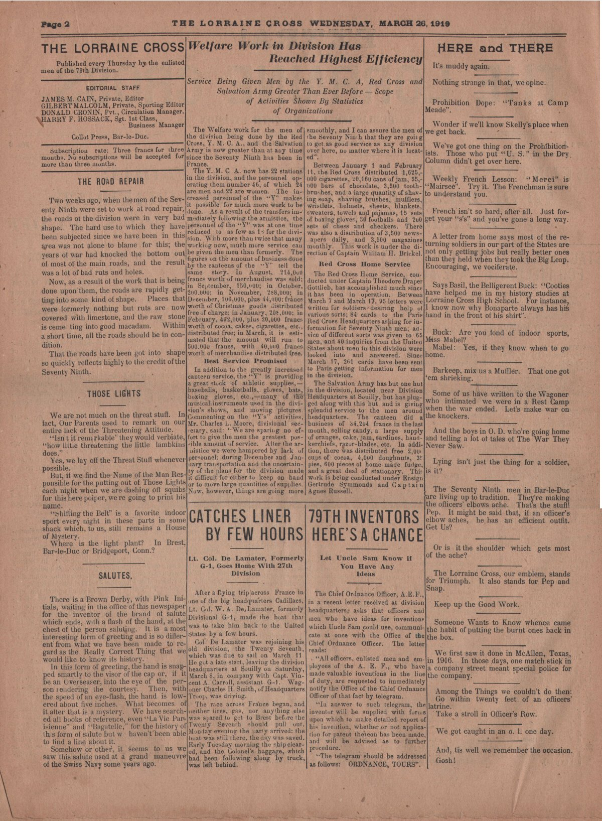 Lorraine Cross Newspaper Volume 1 Number 5 France March 26 1919 Page 2