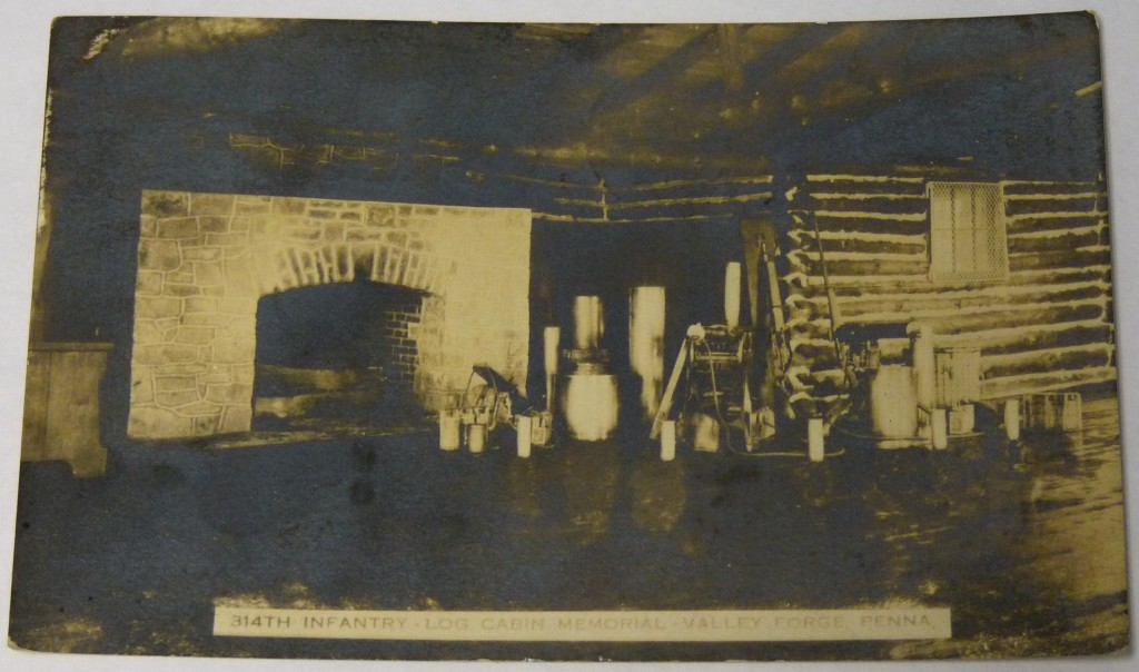 314th Infantry Log Cabin Memorial - 1926 postcard showing inside of cabin and fireplace