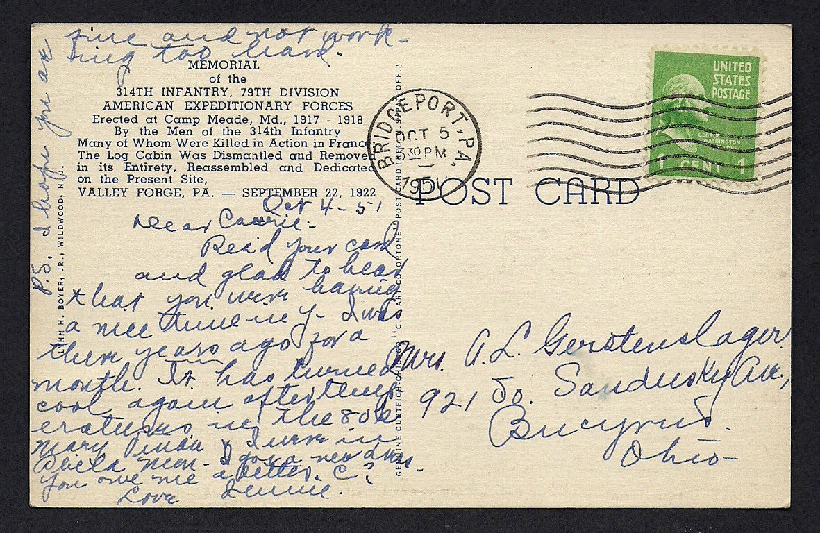 Back of 1947 314th Infantry Postcard postmarked (cancelled) October 1951