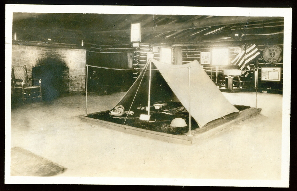Veterans of the 314th Infantry Regiment AEF - Postcard - Interior of Cabin with Tent