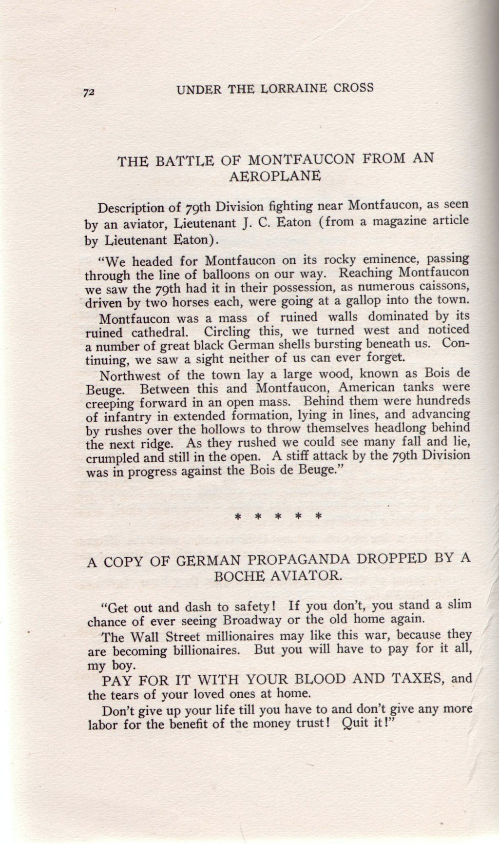 Veterans 314th Infantry Regiment A.E.F. - Under The Lorraine Cross - book by Arthur H. Joel - 1921 - Page 72
