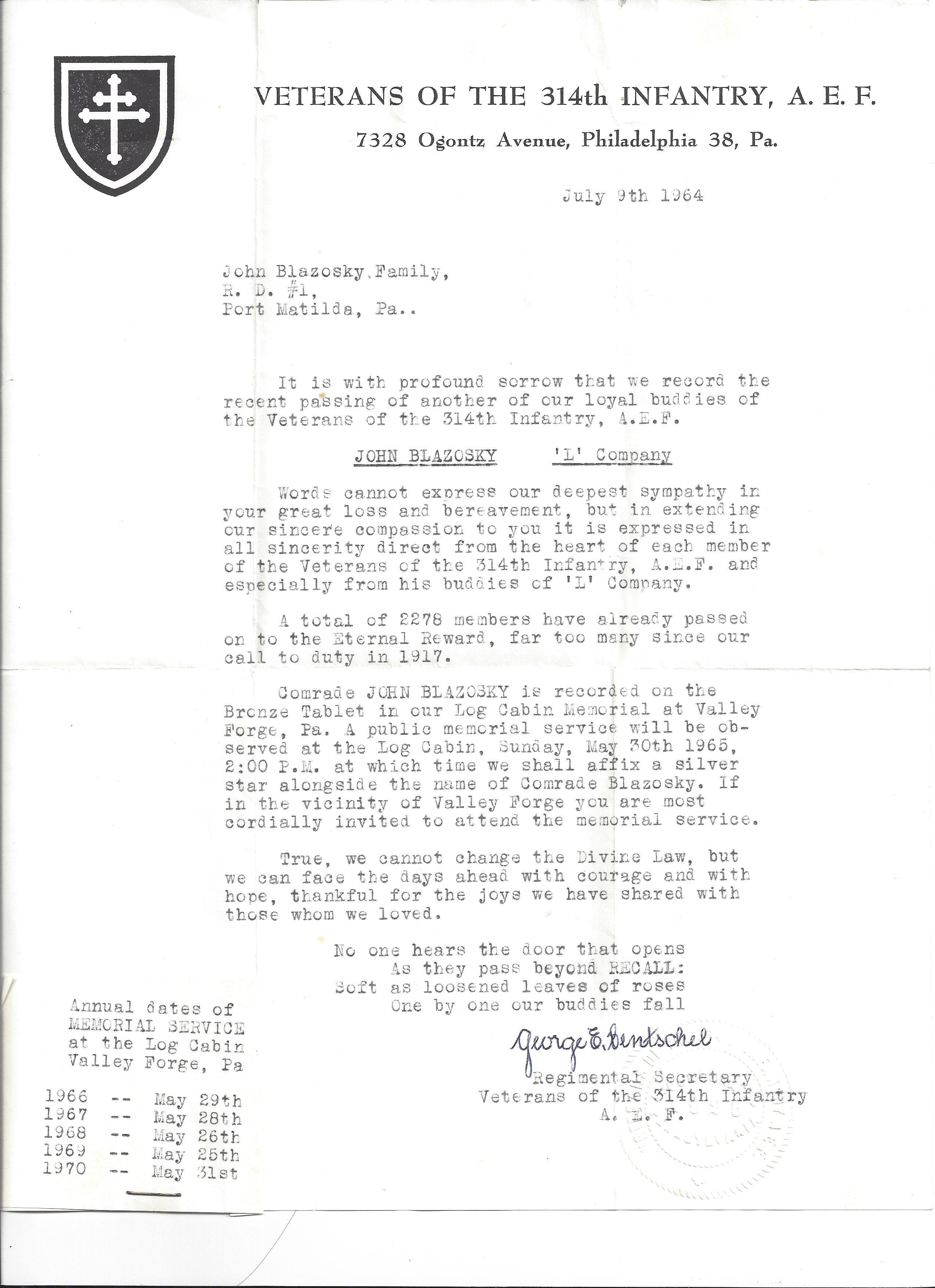 John Blazosky Condolence Letter from George Hentschel 1964