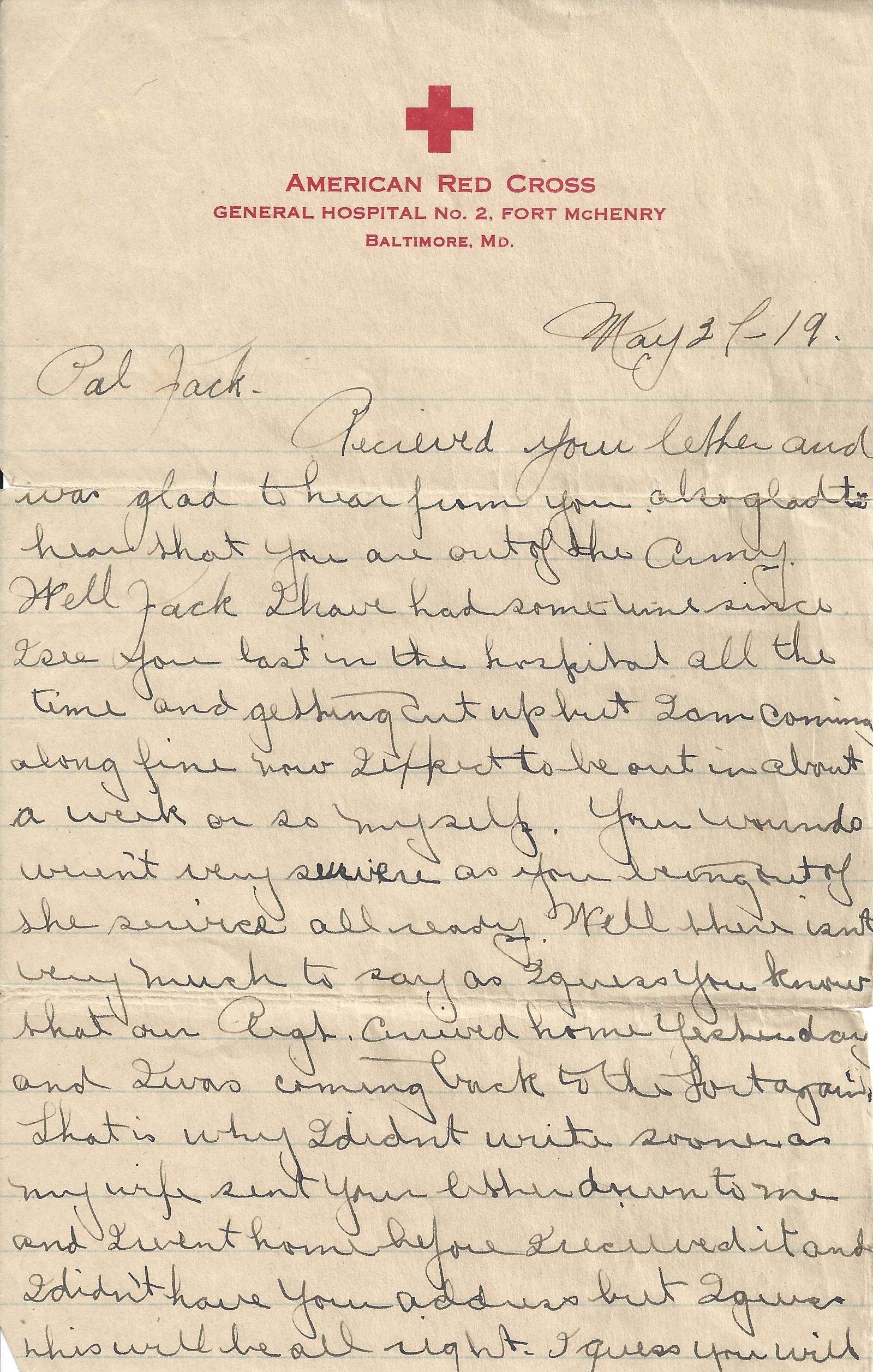 Letter from Harry Rommel in American Red Cross Hospital to John Blazosky 1919 - page 1