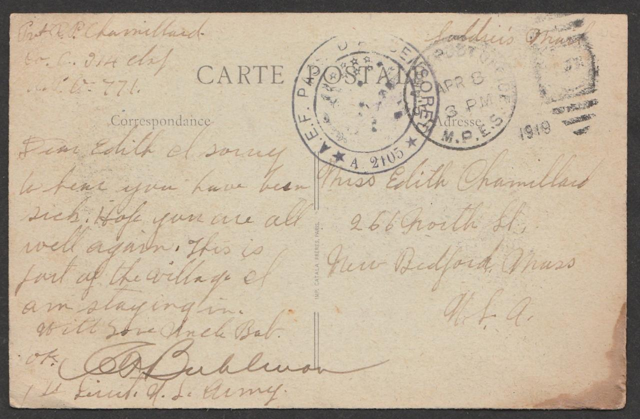 Postacard Robert P Chamillard 314th Infantry Company C sends to Miss Edith Chamillard 4